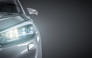 car with lights on